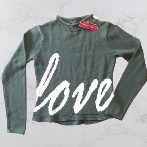 "NWT Girls Say What? sage green ""LOVE"" sweater, M"